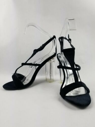 Details about  /Forever Excute Shoes Women Size 7.5 T Strap Open Toe Clear Chunky Heel Sandal