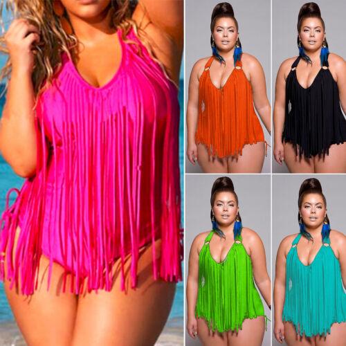 Übergröße Tankini Monokini Damen Einteilig Bikini Badeanzug Bademode Badekleid