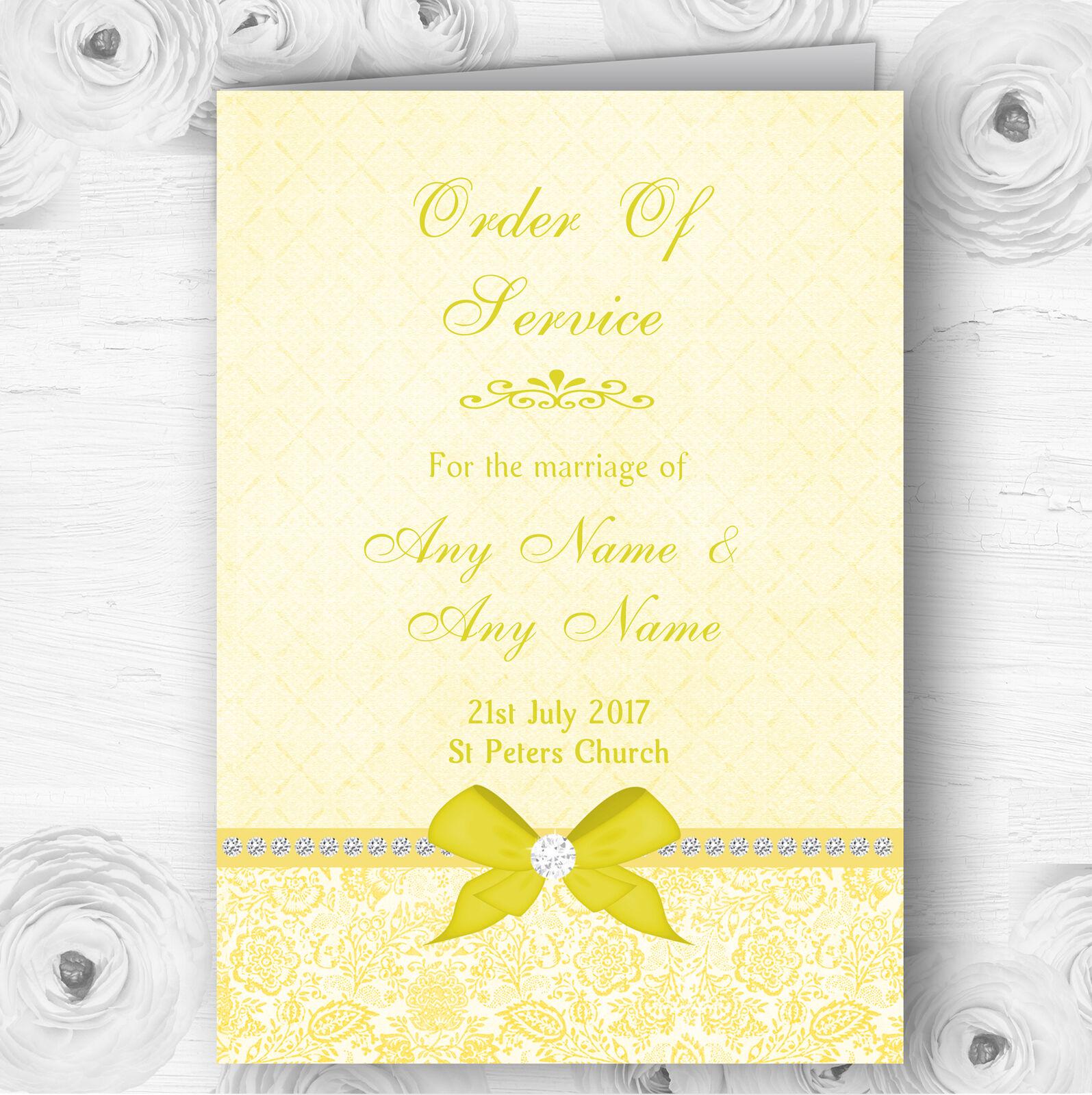 Pretty Floral Vintage Bow & Diamante Gelb Wedding Cover Order Of Service