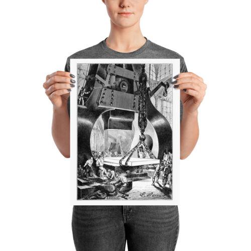 Blacksmith Print Forging Power Hammer Poster From Jules Verne Book Illustration