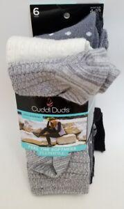 Cuddl Duds Women/'s Leg Layering 6 Pair Crew Socks Size 4-10 New  Grey Fashion