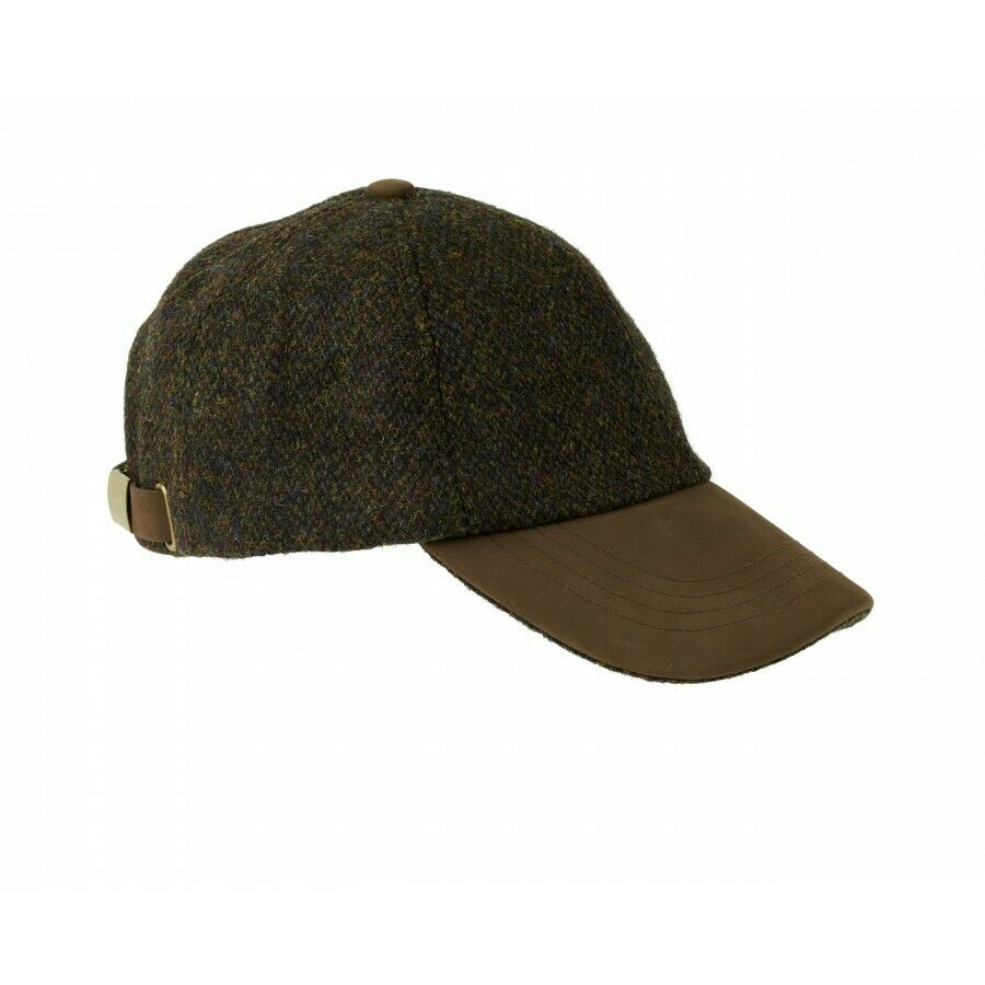 Glencairn Harris Tweed Leather Peak Baseball Cap Brown ZH016 Shooting Hunting
