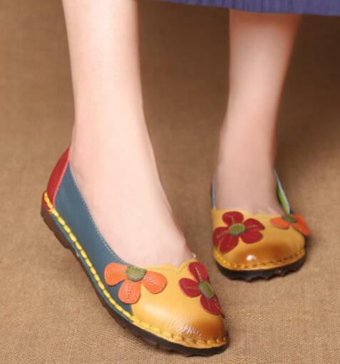 Womens Handmade Retro Flowers Round Toe Flats Moccasin Loafers Casual Shoes E344