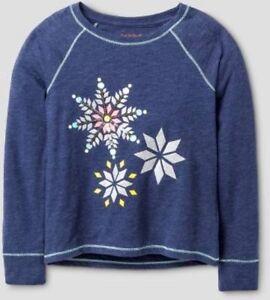Cat & Jack Girls Nightfall Blue Glitter Sequin Snowflakes Tee Shirt , Large Plus