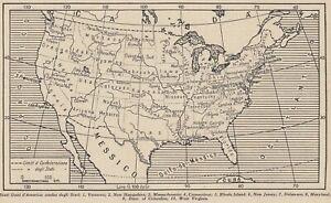 La Cartina Degli Stati Uniti D America.G9245 Stati Uniti D America Confini Degli Stati 1953 Mappa Vintage Map Ebay