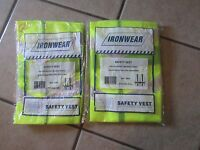 2 Ironwear Safety Vests-one Size Fits All-100% Polyester Lime Mesh Fabric (9 T)