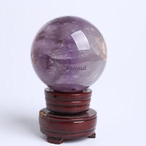 68mm-Natural-Purple-Amethyst-Quartz-Crystal-Ball-Sphere-Healing-Gemstone-Stand