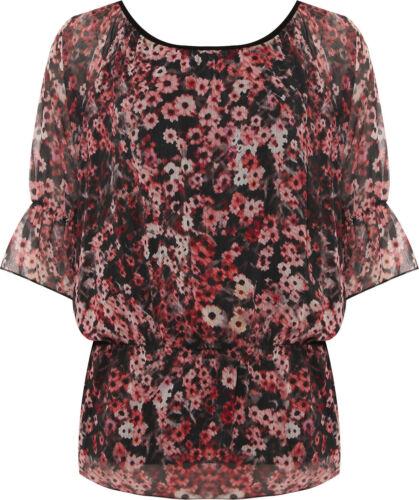 New Ladies Short Sleeve Off Shoulder Floral Print Chiffon Gypsy Boho Womens Top