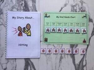 Pectorales//Boardmaker golpear social Story /& tipo manos cuadro para el autismo//ASD//Sen