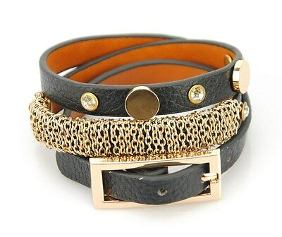 Women Genuine Leather Wrap Belt Buckle Bracelet Mesh Bangle Rivet Cuff Wristband