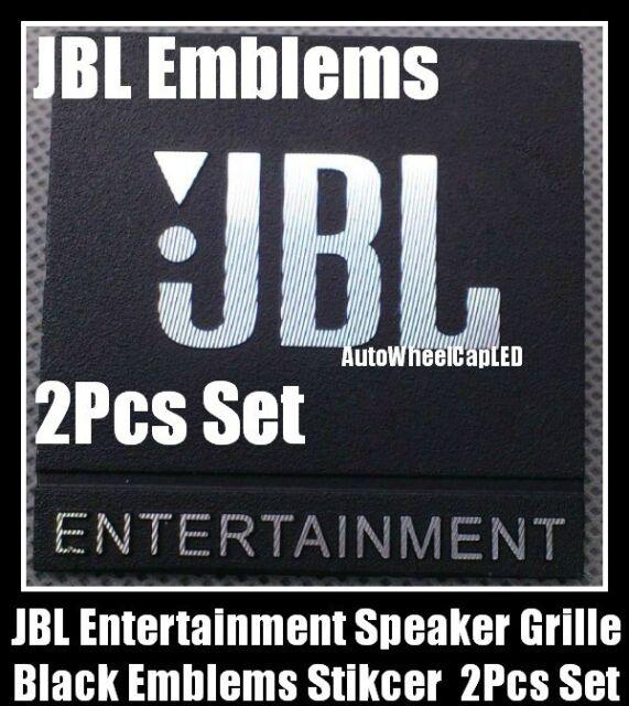 New 2pcs jbl entertainment black grille emblems hifi speaker logo badge stickers