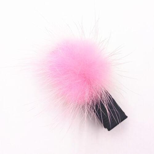 Hot Cute Kids Baby Girls Elastic Hairband Hair Clip Mink Ball Hair Accessories