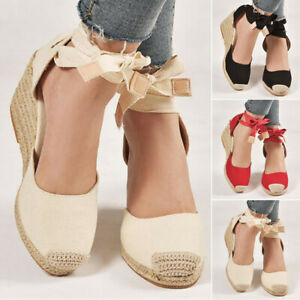2ecb1528ab9 Details about New Womens High Wedge Heel Sandals Ankle Strap Espadrille  Closed Toe Shoes Sizes