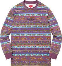 Supreme SS16 Paisley Stripe L/S Top Tee Shirt Purple Classic Logo XL Pink Berry