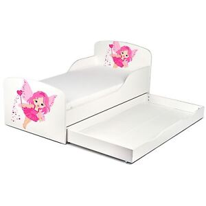 FAIRY DUST TODDLER JUNIOR BED PINK WHITE WITH UNDERBED