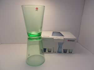 New-boxed-IIttala-Kaj-Franck-1958-12-oz-tumblers-drink-glasses-Mex-Green-Finland