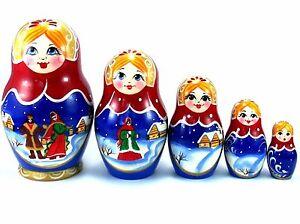 Christmas Nesting Dolls Russian Matryoshka Babushka Stacking Wooden toys 5 pcs 5060409189435