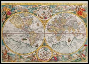 Chart-Needlework-Embroidery-Counted-Cross-Stitch-Patterns-Ancient-World-Map