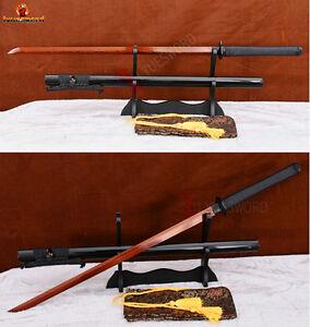 Full-Tang-Japanese-Samurai-Ninja-Sword-Red-Folded-Steel-Sharp-Damascus-Blade