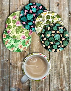 Monstera-Leaves-and-Flowers-Drink-Coasters-Set-of-6-Neoprene