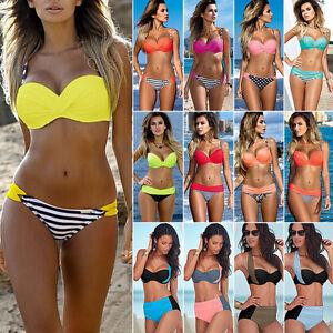 da-donna-Imbottito-Push-up-Set-Bikini-Spiaggia-Costumi-bagno-abbigliamento