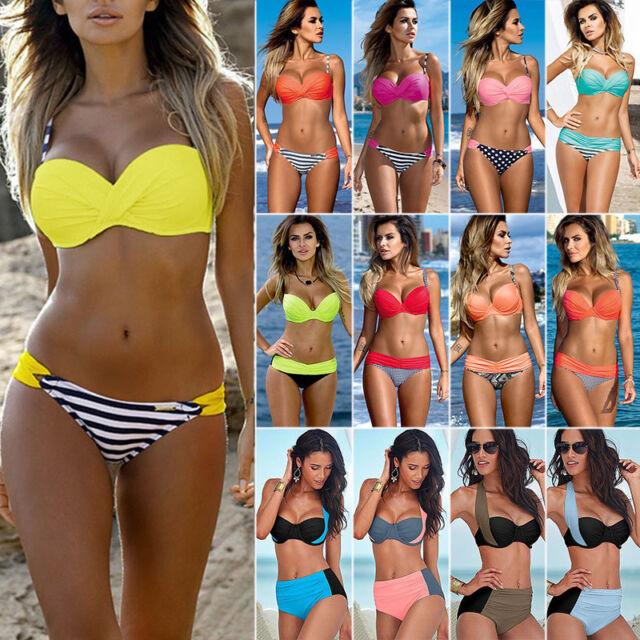 da donna Imbottito Push-up Set Bikini Spiaggia Costumi bagno abbigliamento