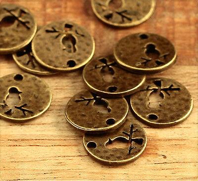 10x Metall Anhänge Charm Vogel 11mm bronze mb1507