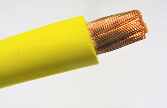 15/' FT 4 AWG GAUGE WELDING CABLEYELLOW COPPER BATTERY LEADS MADE IN USA