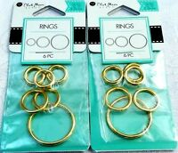 Blue Moon Beads - Rings - Gold Finish 12, 15, 24 Mm - Lot Of 2