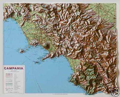 Cartina Geografica Politica Campania.Campania Carta Mappa Regionale In Rilievo 74x64 Cm Senza Cornice Global Map Ebay