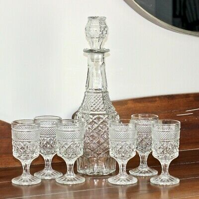 Tall Vintage Wexford Diamond Cut Glass Wine Decanter with Matching Diamond Cut Stopper