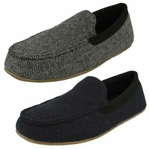 Mens Clarks /'Home Cheer/' Classic Suede Leather Warm Lined Slippers G Fitting