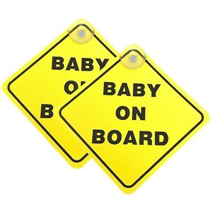 Baby On Board SAFETY Car Window Suction Cup Yellow REFLECTIVE Warning Sign 5x5/""
