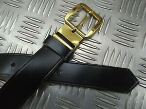 Military Issue Black Leather 3cm Trouser Belt With Gilt Type Long Bar Buckle 40""
