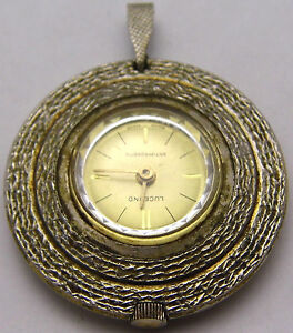 Vintage LUCERNO Pendant Watch Round w/ Nice Etched Design Automatic WORKS