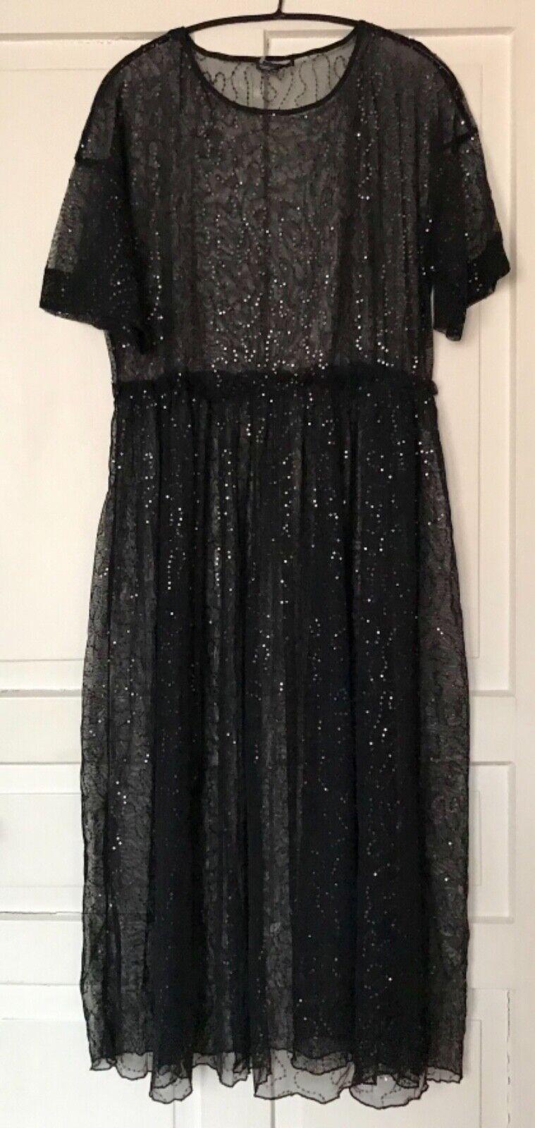 ZARA Tüll Maxikleid Pailletten Kleid Überkleid OverGröße durchsichtig Schwarz Neu