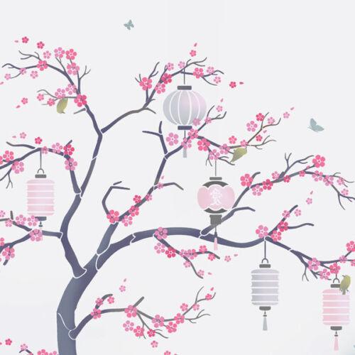 Cherry Blossom Tree Stencil Set with Lanterns.Japanese wall mural Stencils 10672