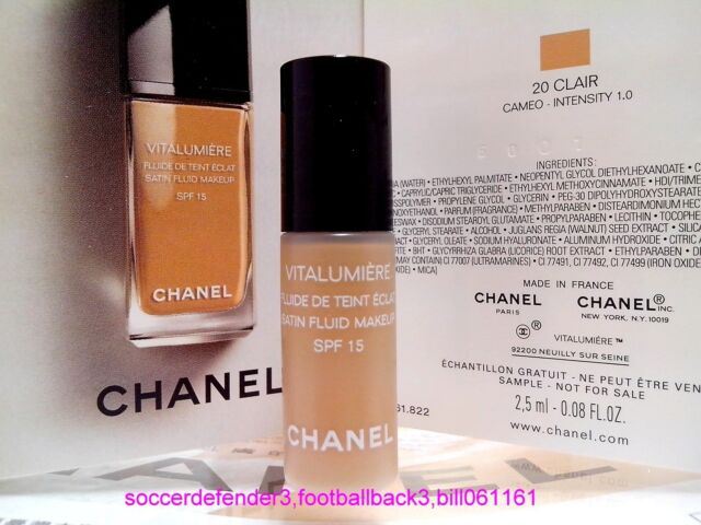 CHANEL Vitalumiere Satin Smoothing Fluid Makeup SPF15 ◆2.5ML◆#20 CLAIR NIB #1017
