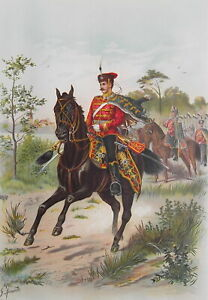 GERMAN-ARMY-Regiment-of-Hussars-Body-Guards-1899-SUPERB-Color-Print
