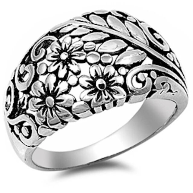 Plain Plumeria .925 Sterling Silver Ring 4-11
