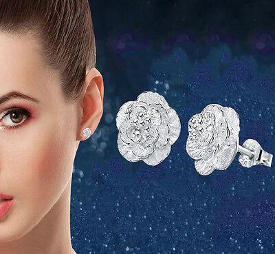 1Pair Women Fashion Ear Jewelry Silver Plated Flower Stud Earrings Nice Hot