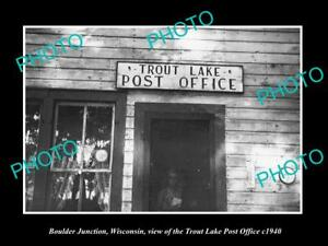 OLD HISTORIC PHOTO OF BOULDER JUNCTION WISCONCIN TROUT LAKE POST OFFICE c1940