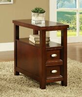 Cherry Finish Wood Rectangular Top Chair Side End Table