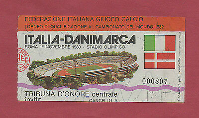 Logisch Orig.ticket Wm Qualifikation 01.11.1980 Italien - DÄnemark !! Sehr Selten