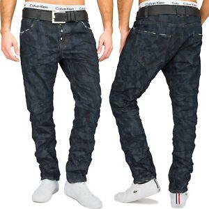 Herren-Slim-Fit-Jeans-Hose-dunkelblau-Camouflage-Army-Crinkle-Look-Gerades-Bein
