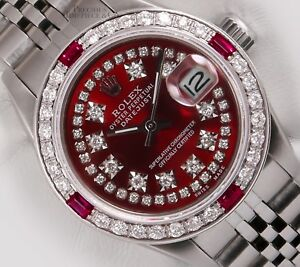 Details About Rolex Lady Datejust Steel 26mm Watch Ruby Diamond Bezel Red String Diamond Bezel