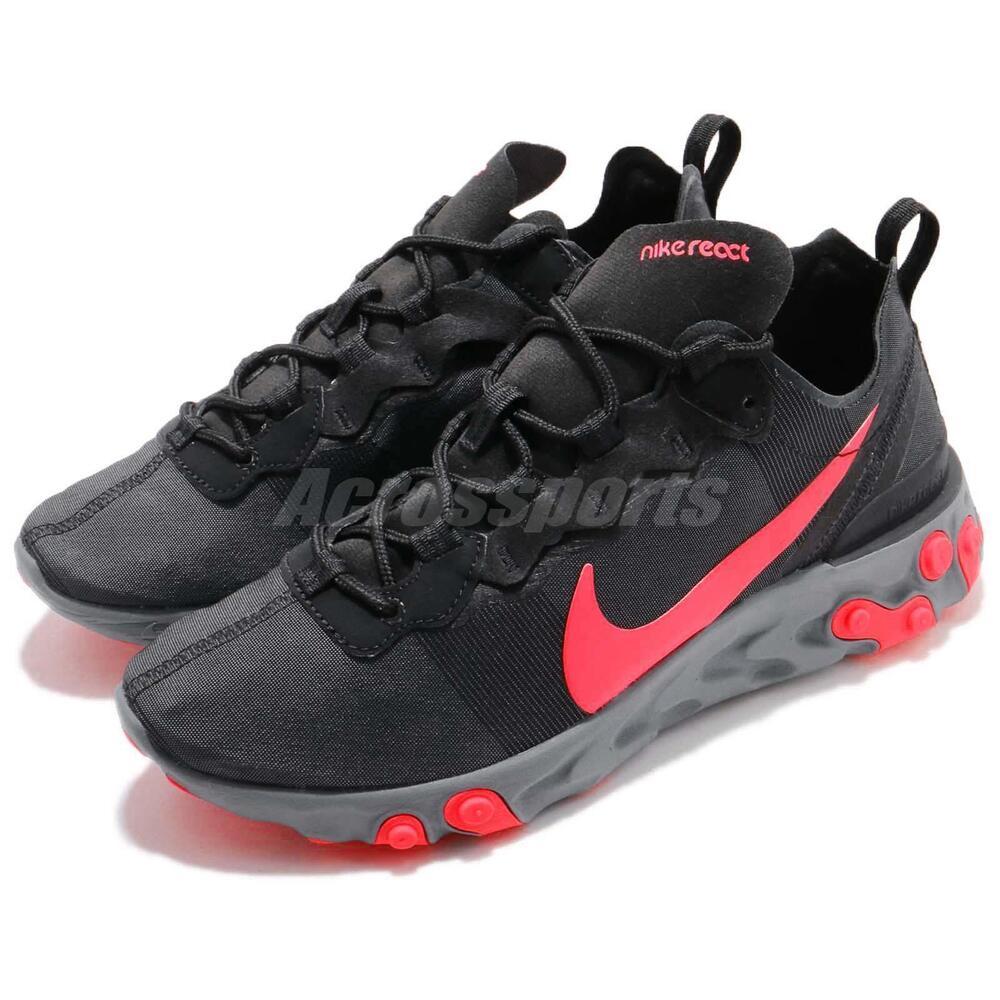 Wmns Nike React Element 55 Noir Solar rouge Femmes  Running Chaussures BQ2728-002 Chaussures de sport pour hommes et femmes