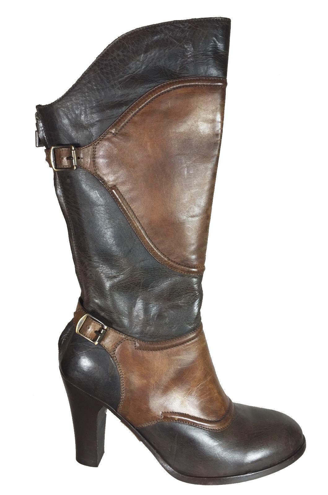 750.00 Authentic Belstaff Skyler Lady Stiefel Schuhe EU Größe 37 Antiqued Leder