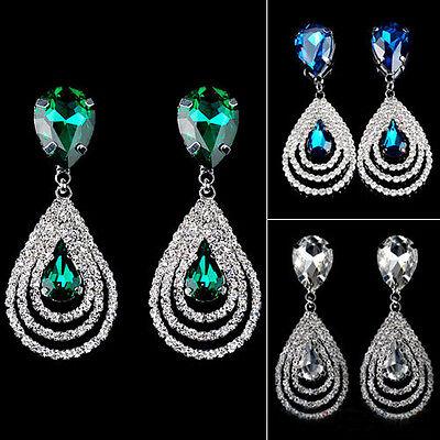 Fashion Sparkling Crystal Teardrop Dangle Drop Studs Rhinestone Hoop Hot Earring