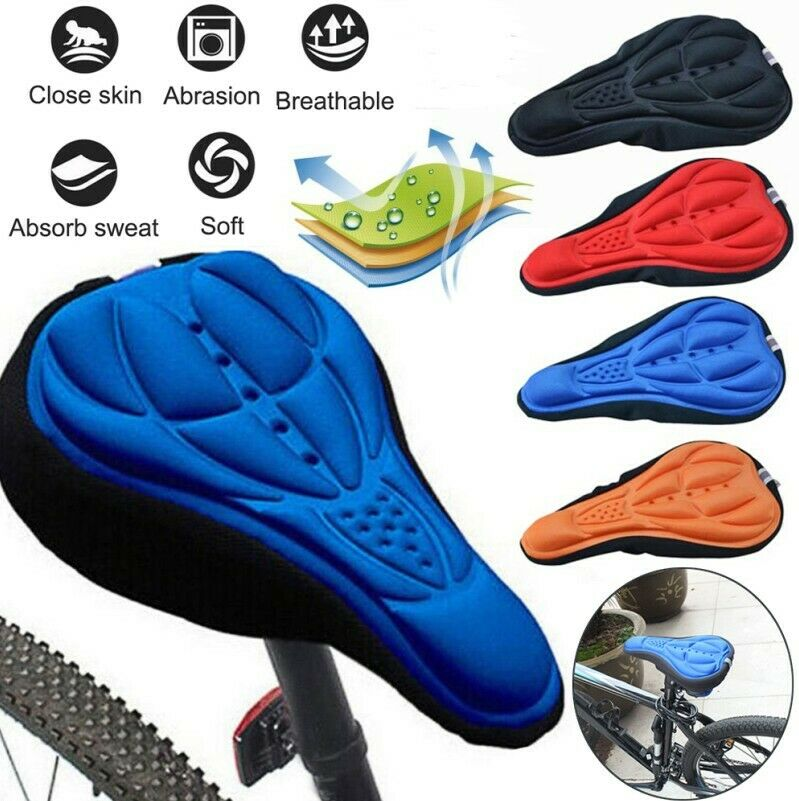 3D Silicone Gel Thick Soft Bicycle Bike Cycling Saddle Seat Cover Cushion Pad